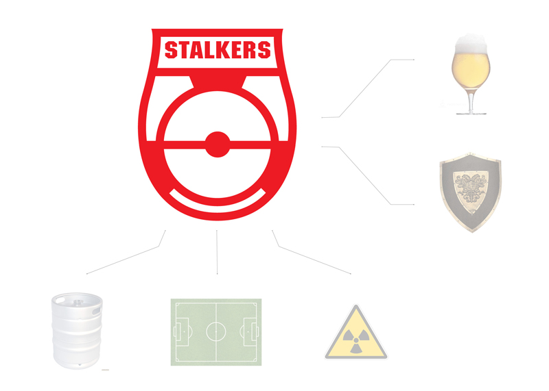 The basis of the mark formed kegs, the product of the company, a football field, as a recognizable element of the game, and the sign of radioactivity, as a symbol of alienation. General view of the logo combines the form of beer and a glass shield.