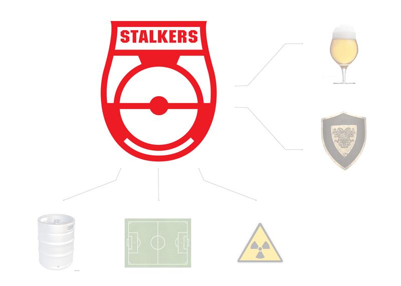 В основу знака легли кеги, как продукт компании, футбольное поле, как узнаваемый элемент игры, и знак радиоактивности, как символ отчужденности. Общий вид логотипа объединяет формы бокала пива и щита.