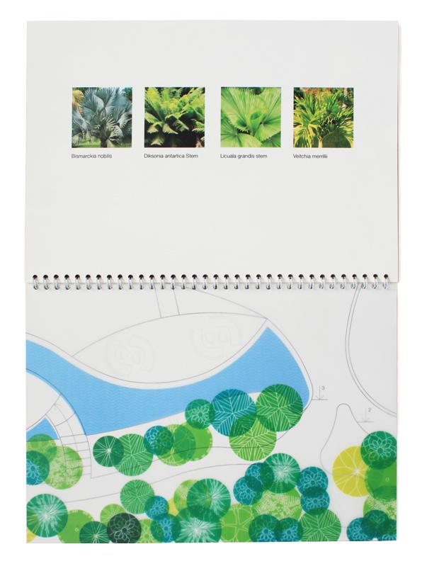 Для внутреннего блока ми использовали листы двух типов: дизайнерскую бумагу и кальку. При перелистывании страницы из кальки накладываются на бумажные и создают новую картинку.