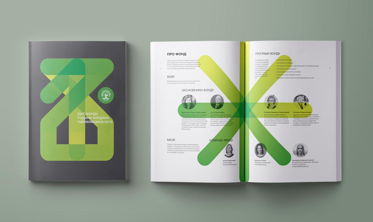 Обкладинка звіту побудована на 12 крапках, що символізують 12 місяців. Через них проведене лінія, що створює цифру «18»
