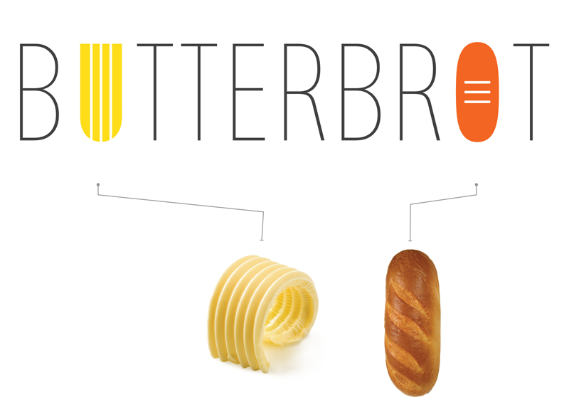 Логотип наглядно иллюстрирует суть бутерброда. Так, слово «butter» в переводе означает масло. Буква «U» символизирует слой масла нанесенный хлебным ножом. Буква «О» в слове «brot» символизирует хлеб.