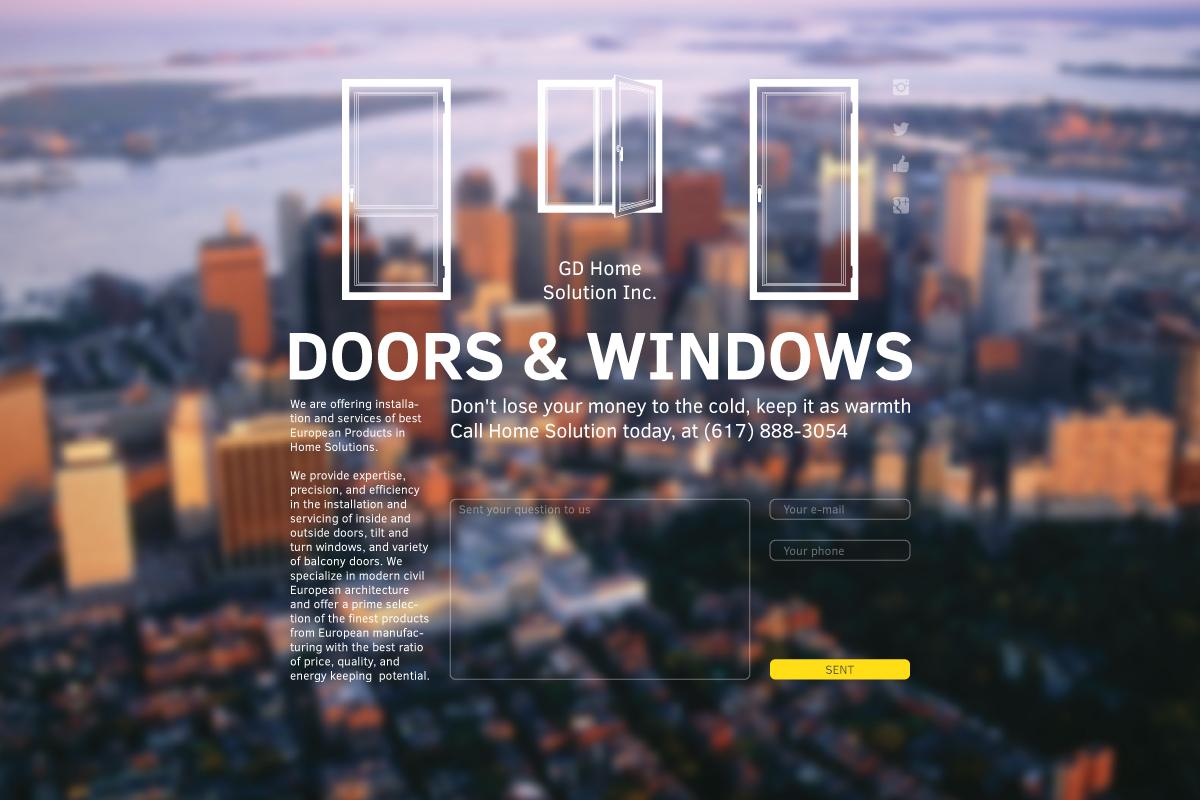 На сторінці сайту ми графічно проілюстрували продукти, пропоновані компанією. Також розмістили текст про профілі, матеріали, постачальників. Різні переваги компанії. Створили форму відправки повідомлення, запиту або прорахунку. В якості фону ми вирішили використати краєвид Бостону, ніби з вікна. Надалі краєвиди можуть змінюватися, залежно від того, в якому місті компанія буде працювати