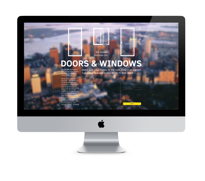 Сайт спроектирован таким образом, что будет помещаться в первый экран на всех наиболее популярных используемых ныне мониторах.