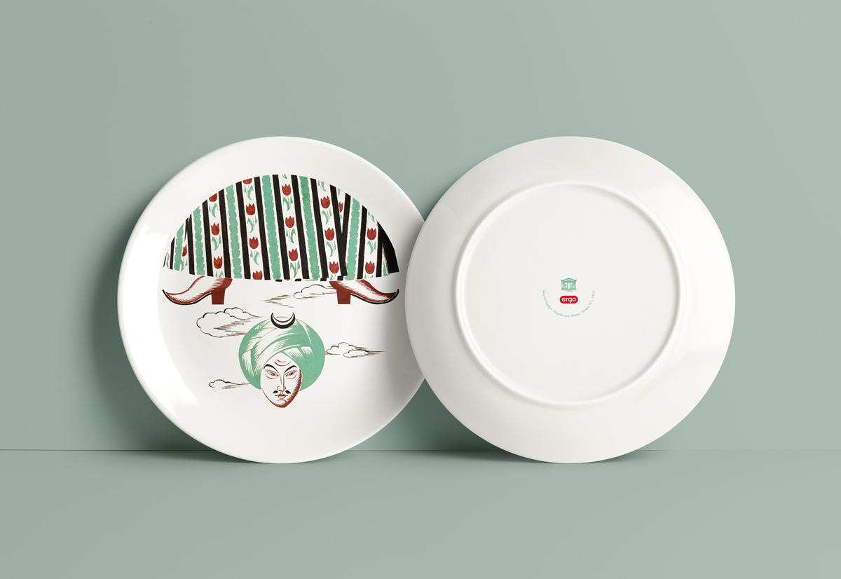 В студии разработали дизайн тарелок, основывая его на фрагментах работ мастеров украинского искусства.