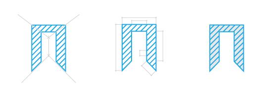 Знак построен на букве «П», первой букве названия бюро, но содержит в себе не одну, а три «П» – Перспектива, План, Площадь.