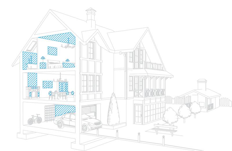 Основным объектом «Главной» страницы является чертеж разреза дома. При наведении на один из тезисов, появляется текст рассказывающий о преимуществах бюро.