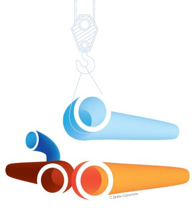 Листівка наочно ілюструє процес укладання труб.