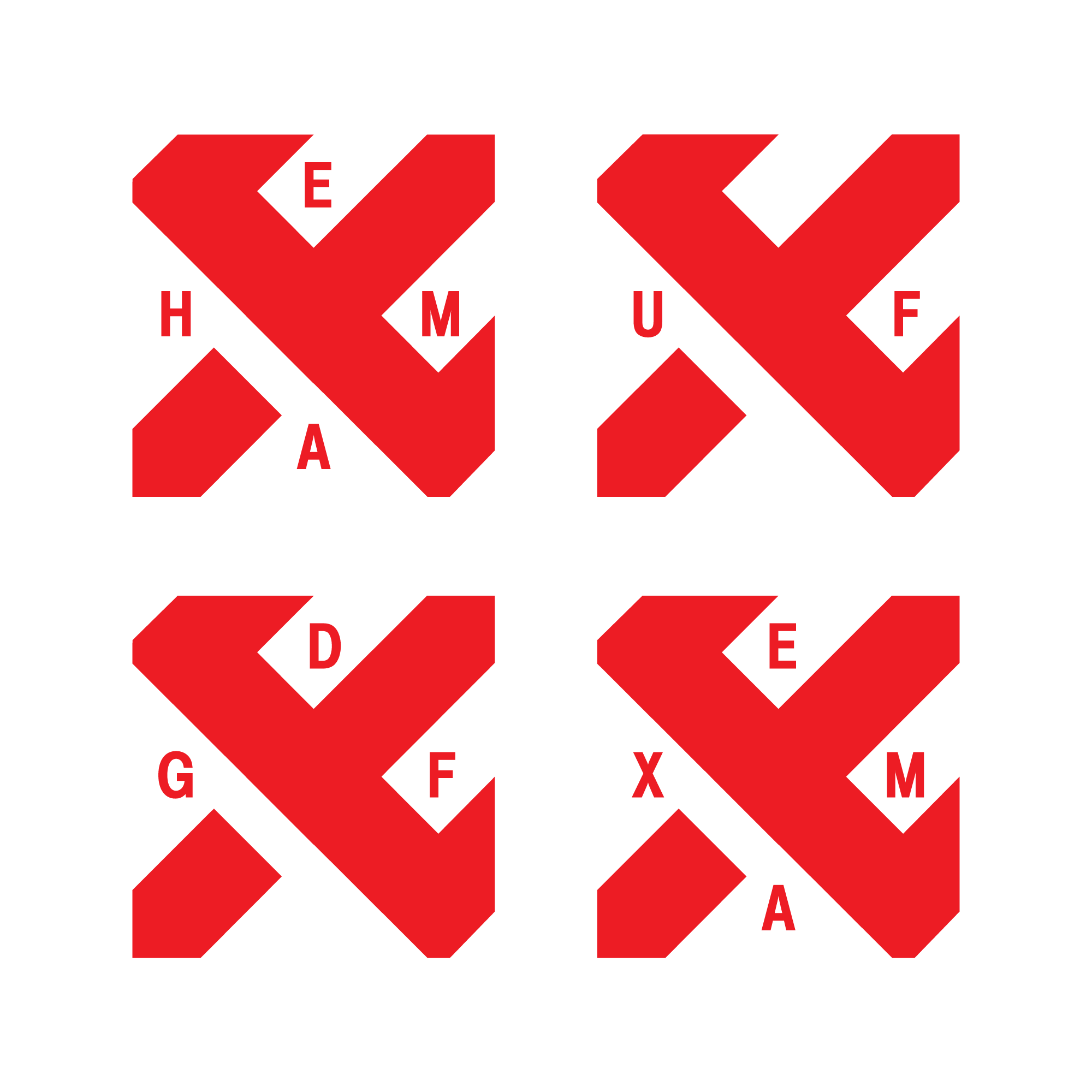 Для зручності застосування, окрім вертикальної та горизонтальної версії була розроблена емблема, для використавння на квадратних форматах. Вона дає змогу залишити знак сталим і в одночас змінювати наповнення літерами відповідно до потреб і змісту.