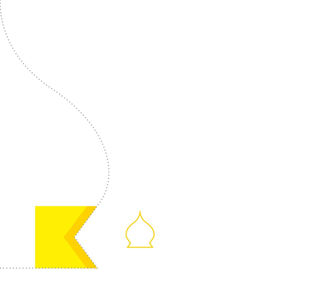 """Издавна Киев славился своими церквями та святыми местами. Его часто называют """"златоверхим"""". Мы решили отобразить это графично. Буква """"К"""" также хорошо вписывается в схематичное изображение купола храма, а желто-горячие цвета одновременно цветами внимания и важности."""